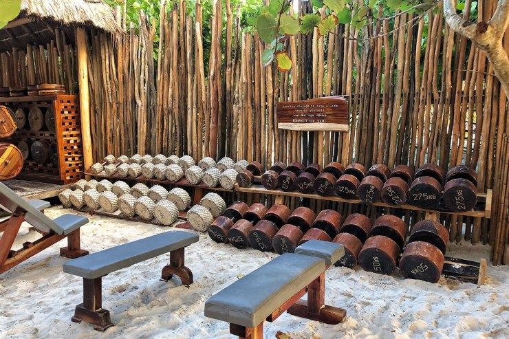 wooden-stone-dumbbells-tulum-jungle-gym
